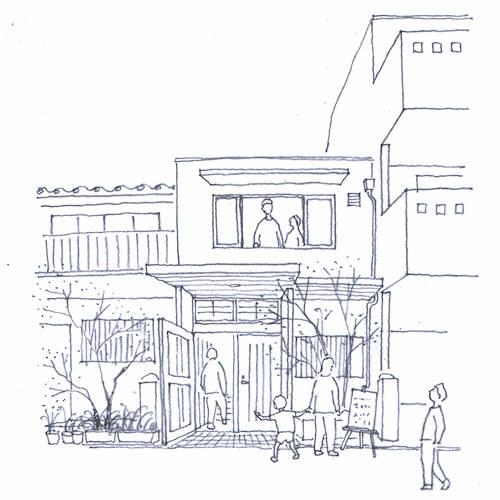 20170928 昭和町長屋イラスト